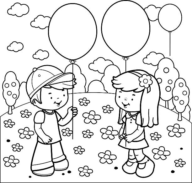Best Kids Coloring Illustrations, Royalty-Free Vector ...