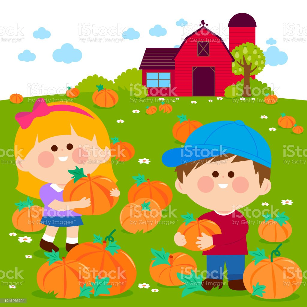 Children at the pumpkin field and farmhouse. vector art illustration