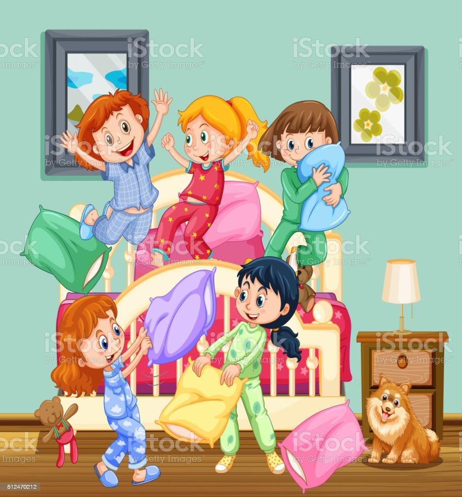 ec2ba1aefd Niños en la fiesta de pijamas ilustración de niños en la fiesta de pijamas  y más