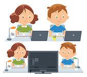 Vector children attending to online school class