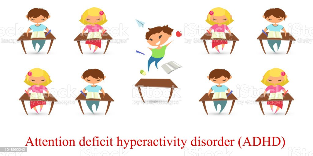 Children Reading Stock Vector Art More Images Of Baby: Children Attention Deficit Hyperactivity Disorder Problem