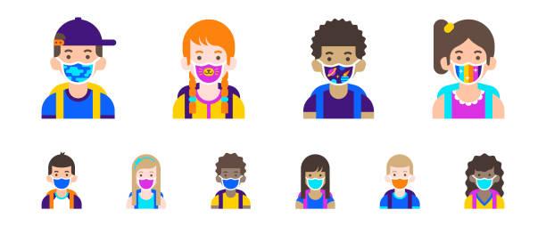 illustrations, cliparts, dessins animés et icônes de collection d'avatars pour enfants. icônes utilisateur des étudiants. illustration plate moderne de dessin animé - enfant masque