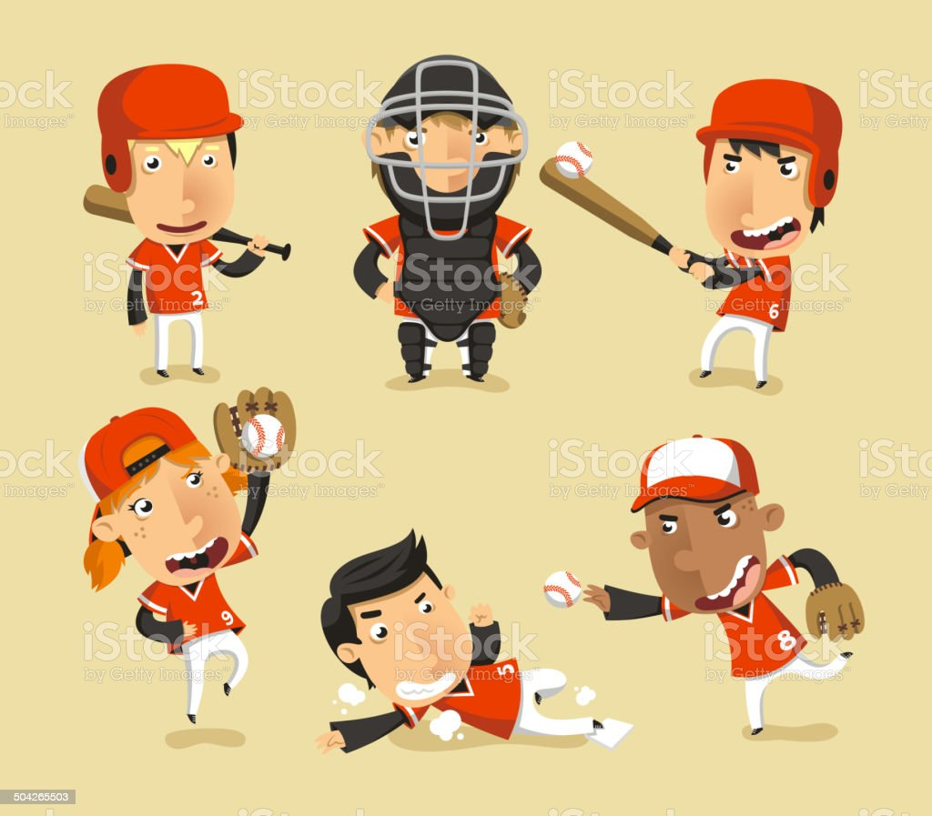 Children Baseball Team vector art illustration