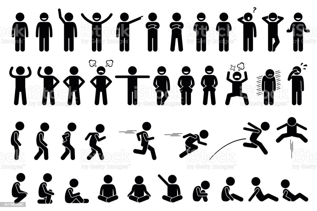Children basic poses, actions, postures, feelings, and emotions. vector art illustration