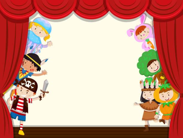 illustrations, cliparts, dessins animés et icônes de rendement scolaire enfants behide rideau - theatre