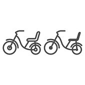 Children bike line and solid icon, childhood concept, Child bike sign on white background, Children bicycle icon in outline style for mobile concept and web design. Vector graphics