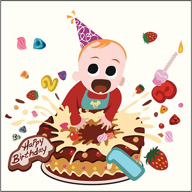 stockillustraties, clipart, cartoons en iconen met children birthday cake - baby dirty