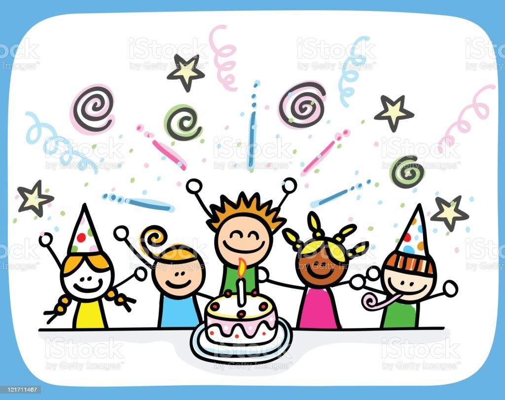 Children Birthday Party Cartoon Stock Illustration