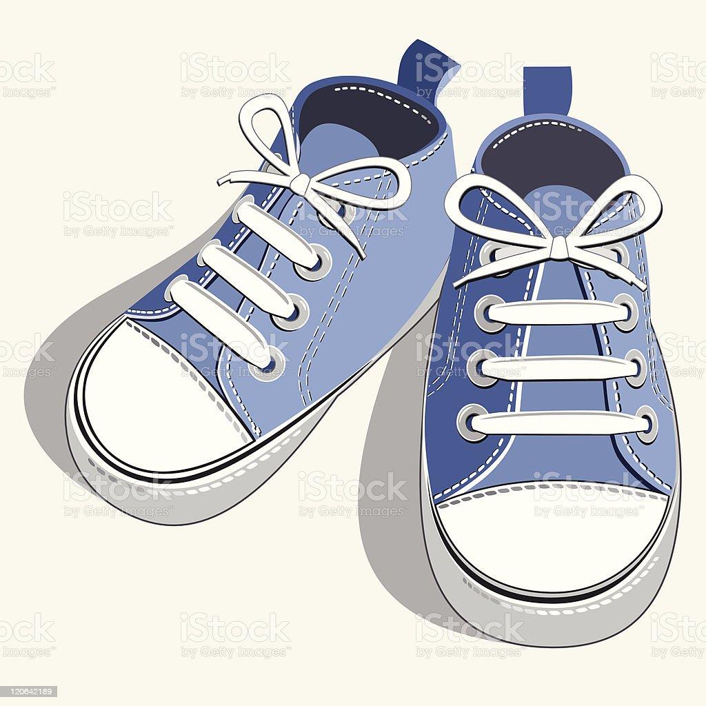 Children blue sneaker vector art illustration
