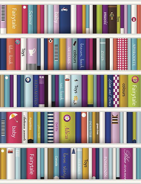 Children book shelf. vector art illustration