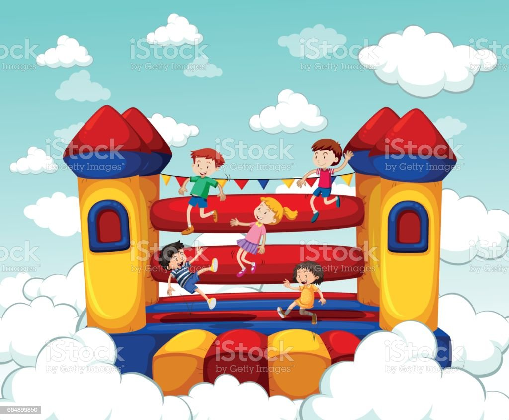 Children bouncing on rubber house vector art illustration