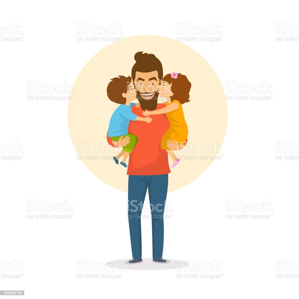 children, boy and girl, daughter and son kissing  hugging their father, happy fathers day congratulations vector illustration vector art illustration