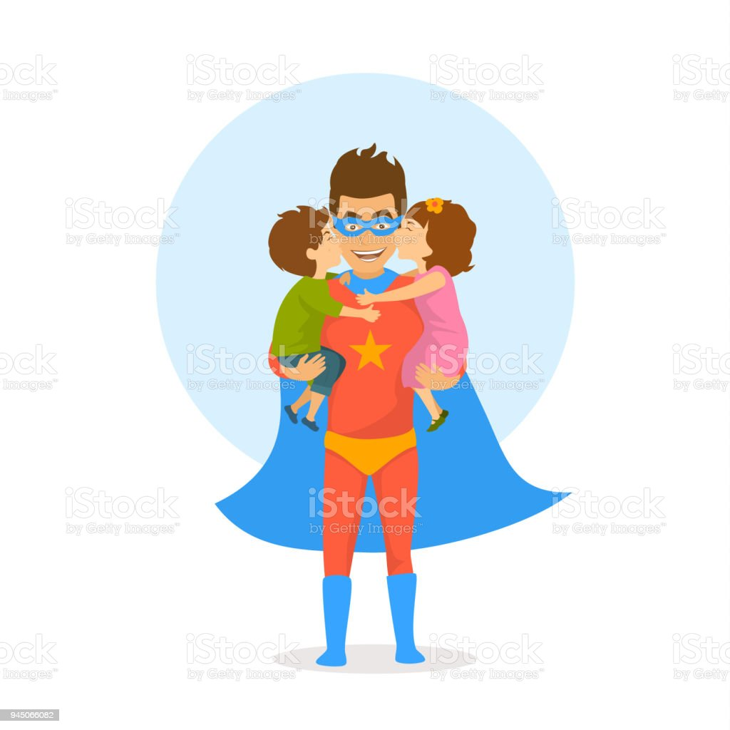 children boy and girl kissing hugging congratulating dad dressed as superhero with happy fathers day. funny humor isolated vector illustration vector art illustration