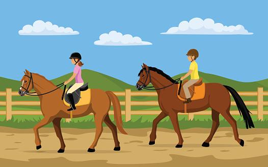 Children, Boy and Girl Learning Horseback Riding. Countryside background