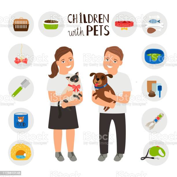 Children boy and girl with pets cat and dog vector id1128810148?b=1&k=6&m=1128810148&s=612x612&h=exw0u7o0jn4qqbib2nrsxlh2bjvdgzi4uloyaowalz0=