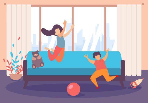 아이 들 소년 소녀 점프 놀이 내부 거실 - 레저 추구 stock illustrations