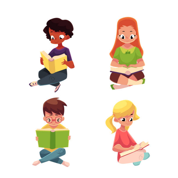 Children, boys and girls, reading interesting book sitting on floor Set of children, boys and girls, reading interesting book sitting with crossed legs, cartoon vector illustration isolated on white background. Kids, boys and girls, Caucasian and black, reading books elementary age stock illustrations