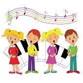 Vector Illustration Of Kids Choir Stock Illustration - Download Image Now -  iStock