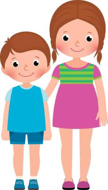 ilustraciones, imágenes clip art, dibujos animados e iconos de stock de hermana y hermano de los niños están parados en la ilustración de dibujos animados de vector de longitud total - hermano