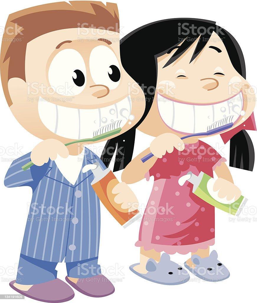 Children brushing teeth royalty-free stock vector art