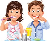 Vector illustration of a boy and a girl standing at the bathroom sink, brushing their teeth, isolated on white. Concept for children and dental health, healthy lifestyle and daily routine.