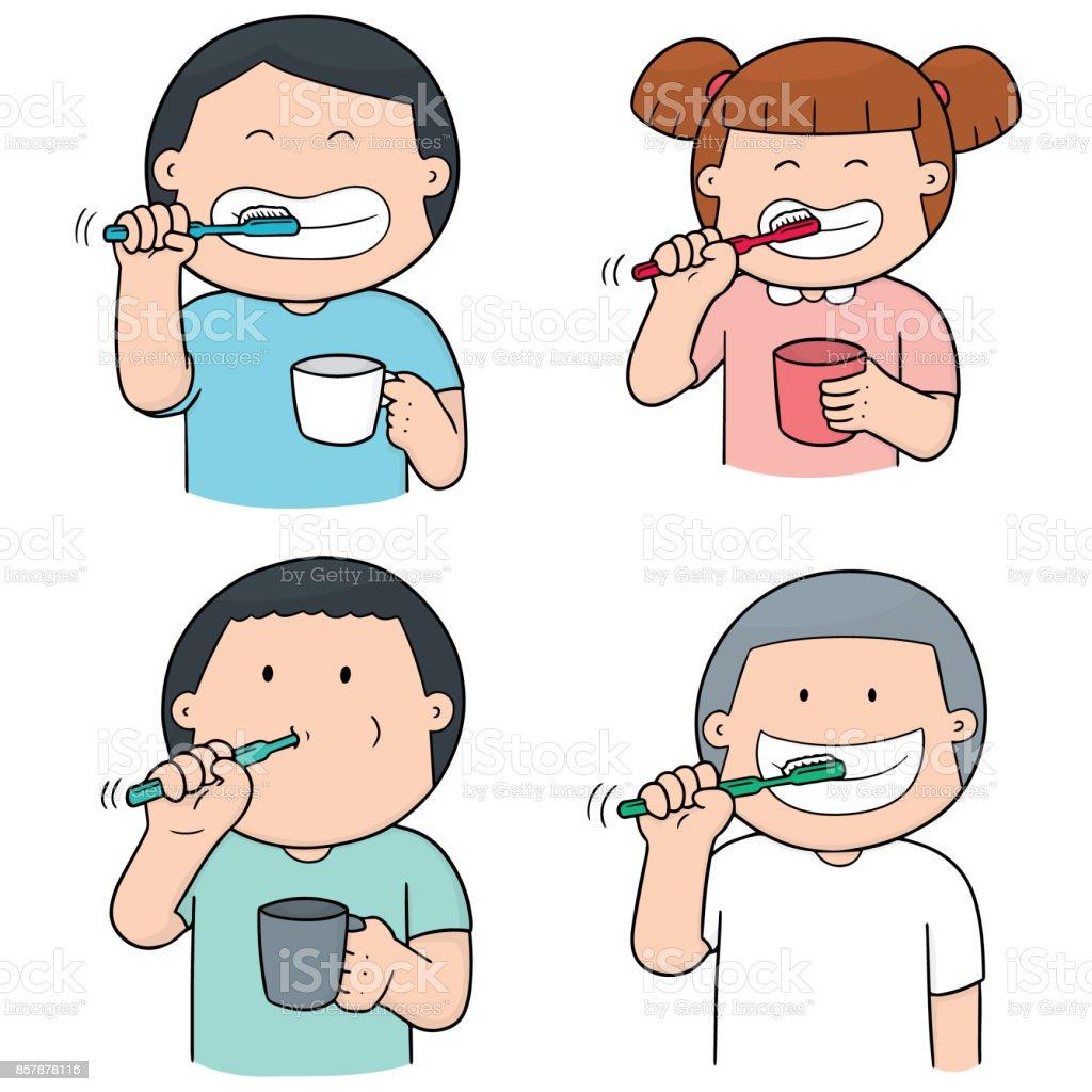 çocuk Diş Fırçalama Stok Vektör Sanatı Animasyon Karakternin Daha