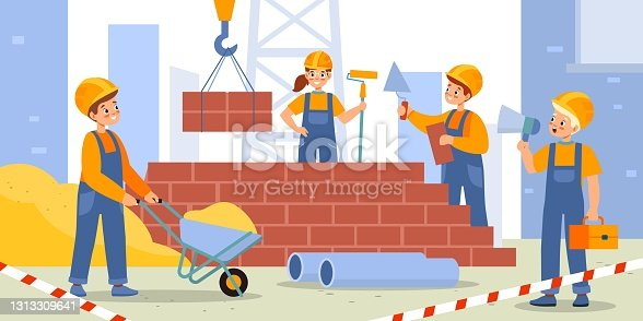 istock Children build house. Kids construction site, happy boys and girls in workers uniform and helmets, young builders erecting house. Cute teens teamwork, architecture vector cartoon concept 1313309641