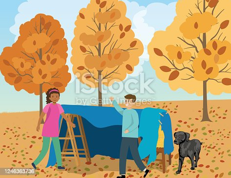 istock Children Building A Fort In The Yard 1246363736