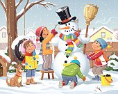 Vector illustration of four children with a dog in a backyard, building a snowman with a scarf, a top hat and a broom. It's snowing and in the yard is a tree with a swing, a fence and a doghouse. In the background are houses.
