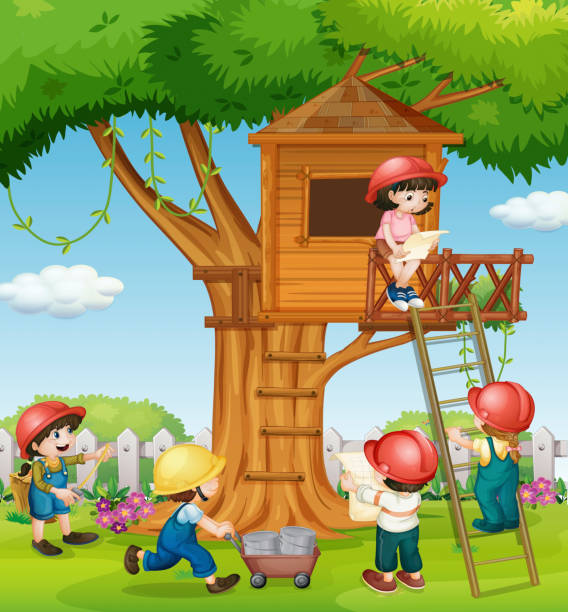 Best Tree House Kids Illustrations, Royalty-Free Vector ...