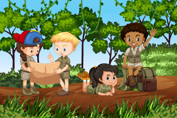 ilustrações, clipart, desenhos animados e ícones de crianças acampar na floresta - explorador