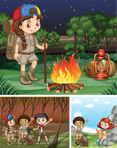 Children Camping Out In The Forest Vector Art Illustration