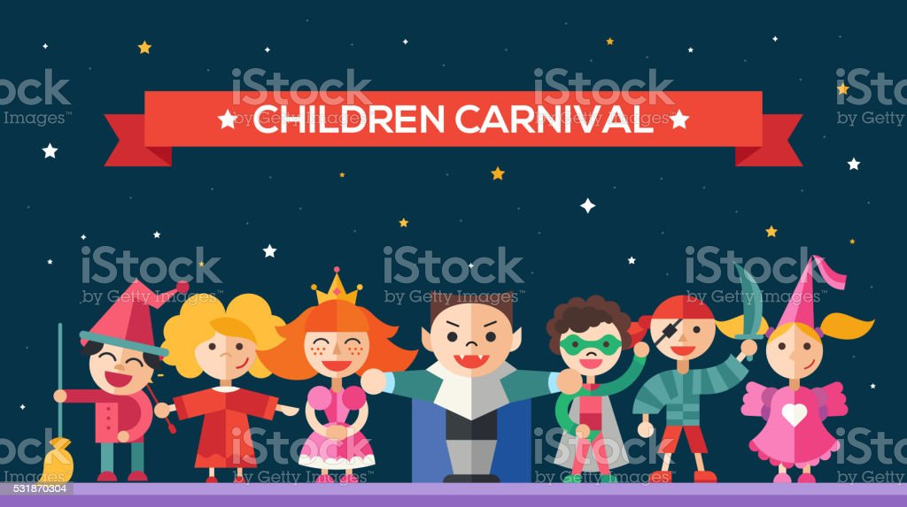 Children carnival - flat design characters website banner vector art illustration