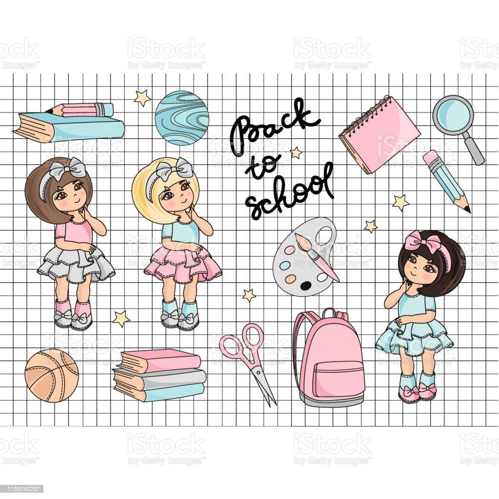 Children Cartoon Education Vector Illustration Set for Print, Design...