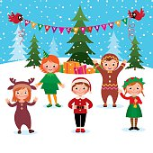 Children celebrate Christmas and New Year