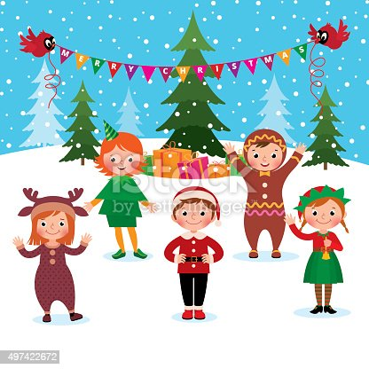 Children Celebrate Christmas And New Year Stock Vector Art