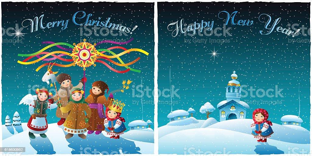 Children celebrate Christmas in winter village vector art illustration