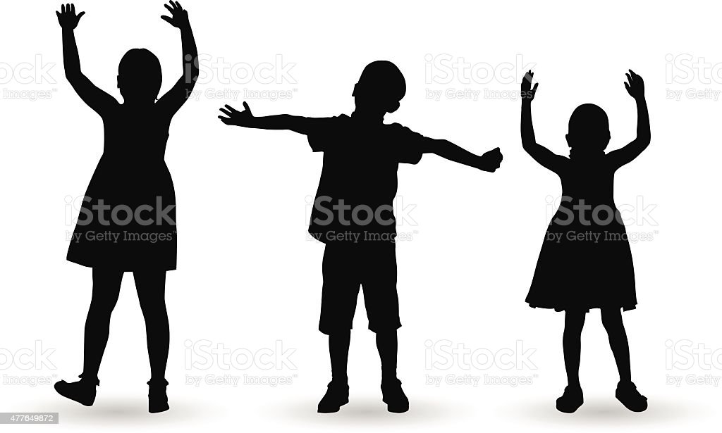 Children celebrate with open arms vector art illustration