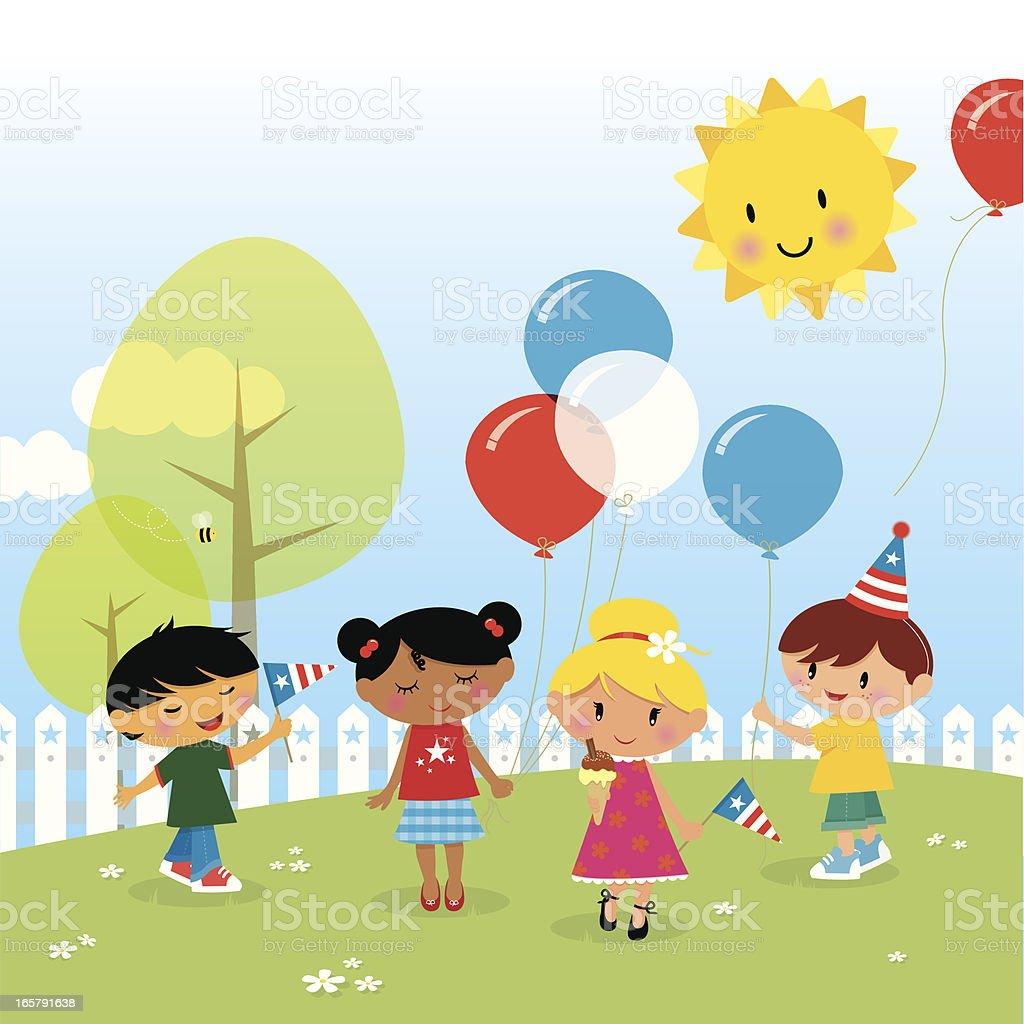 Enfants célébrant le 4 juillet - Illustration vectorielle