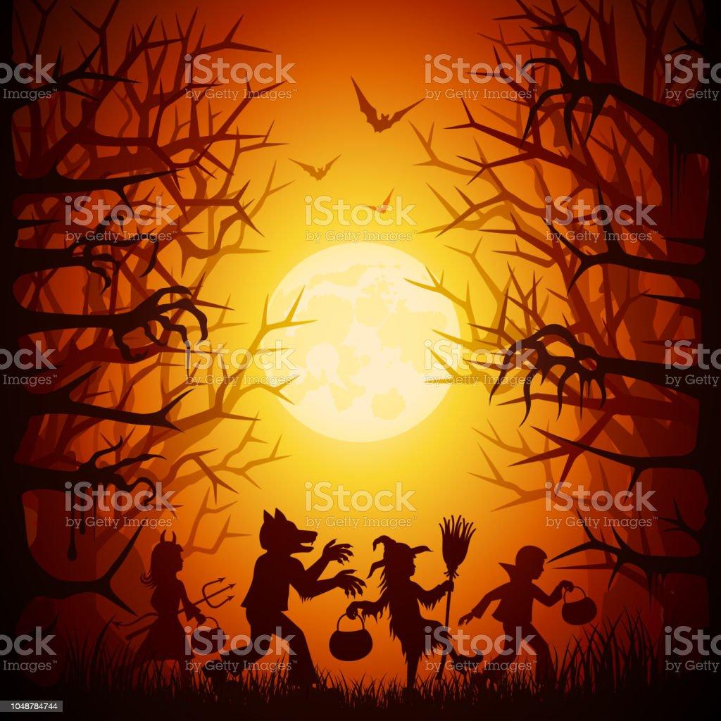 Children celebrating Halloween vector art illustration