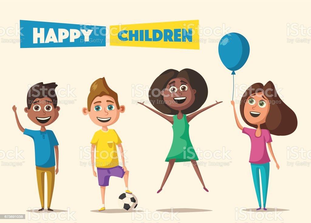 Children character. Cartoon vector illustration children character cartoon vector illustration – cliparts vectoriels et plus d'images de 6-7 ans libre de droits
