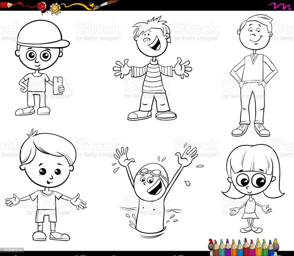 塗り絵子供文字セット お絵かきのベクターアート素材や画像を多数ご