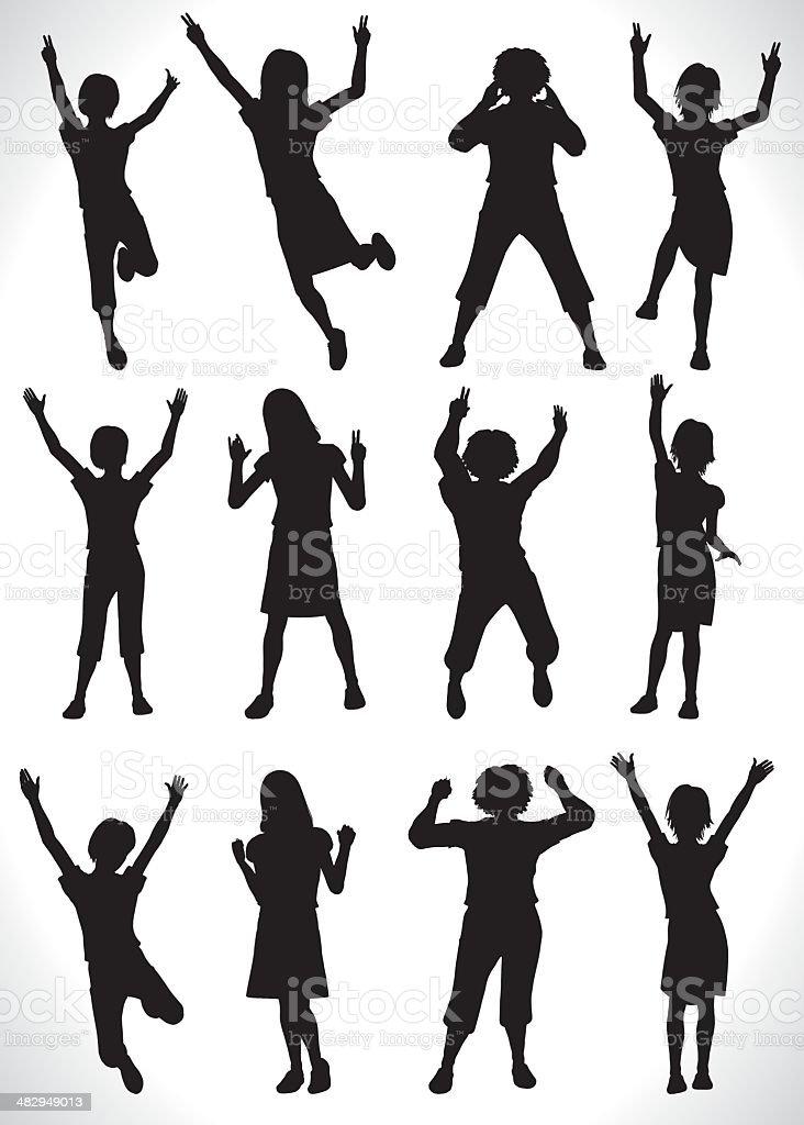 Children cheer[girls] vector art illustration
