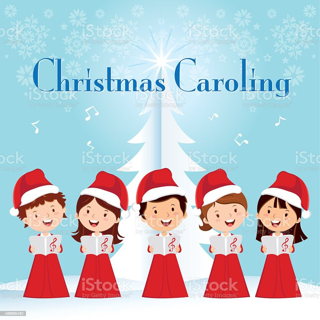 Children Christmas Caroling vector art illustration