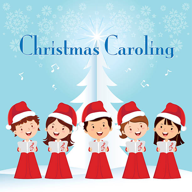 Children Christmas Caroling Children choir singing. gospel choir stock illustrations