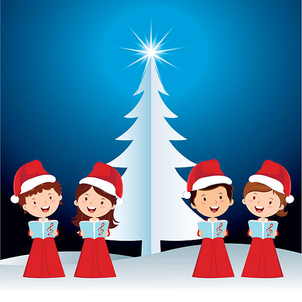 Children Christmas performance Happy children singing Christmas carols with Christmas background. gospel choir stock illustrations