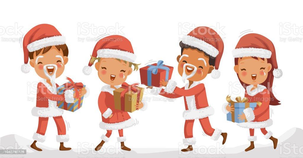 Children Christmas Stock Vector Art & More Images of Boys 1042792776 ...