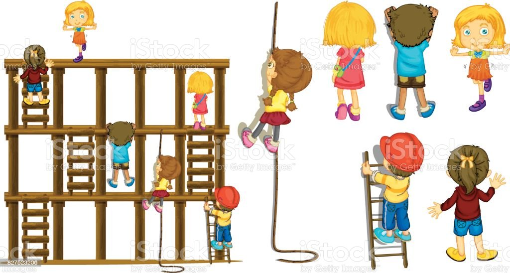 Children climbing up ladder and rope vector art illustration
