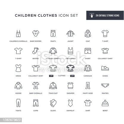 Children Clothes Editable Stroke Line Icons