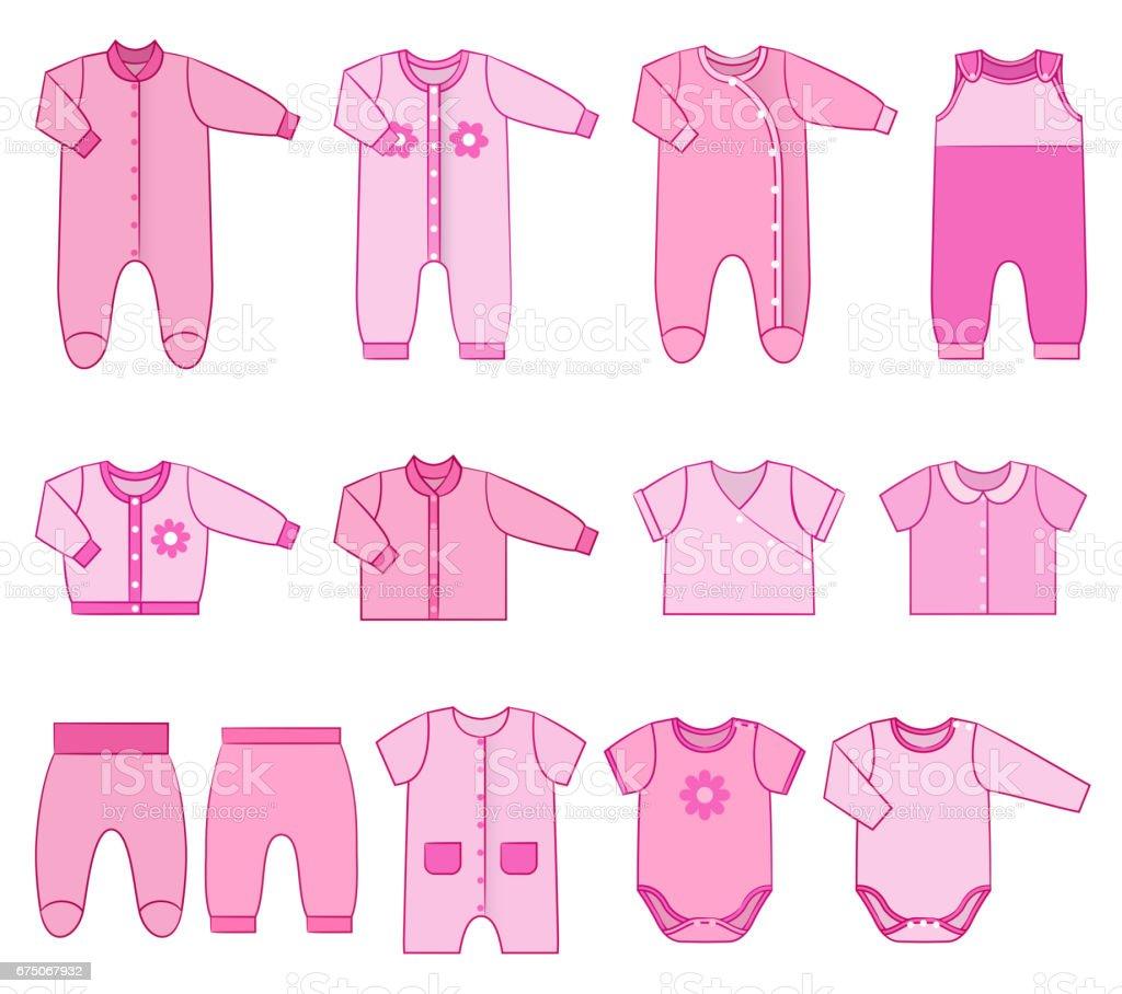 Children clothes for newborn baby girls. Vector illustration. vector art illustration